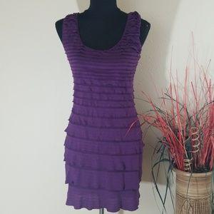 Max Studio Purple Bodycon Ruffle Dress Size M